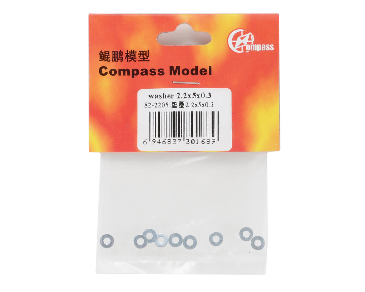 Compass Model 2.2x5x0.3mm Washer (10)