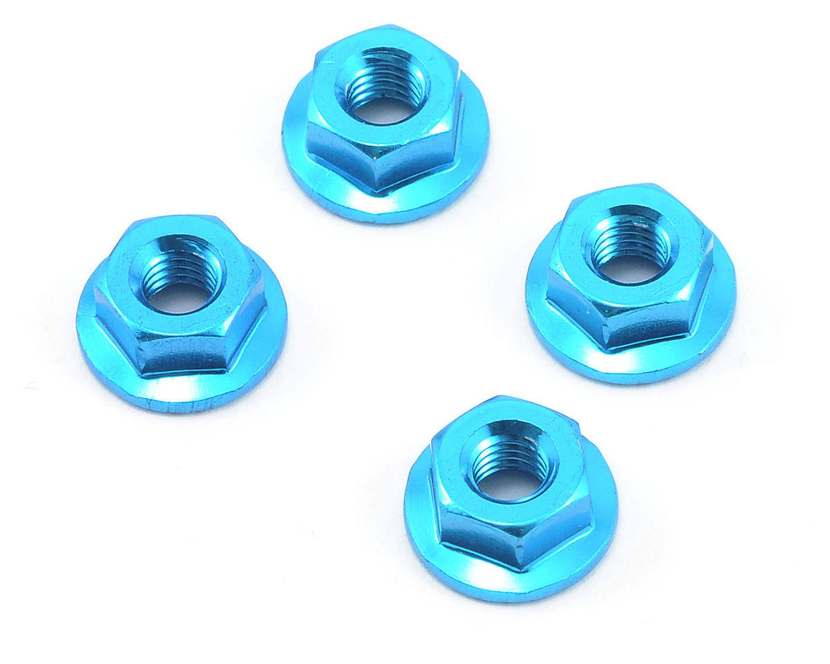 Core-RC 4mm Aluminum Serrated Wheel Nuts (Blue) (4)