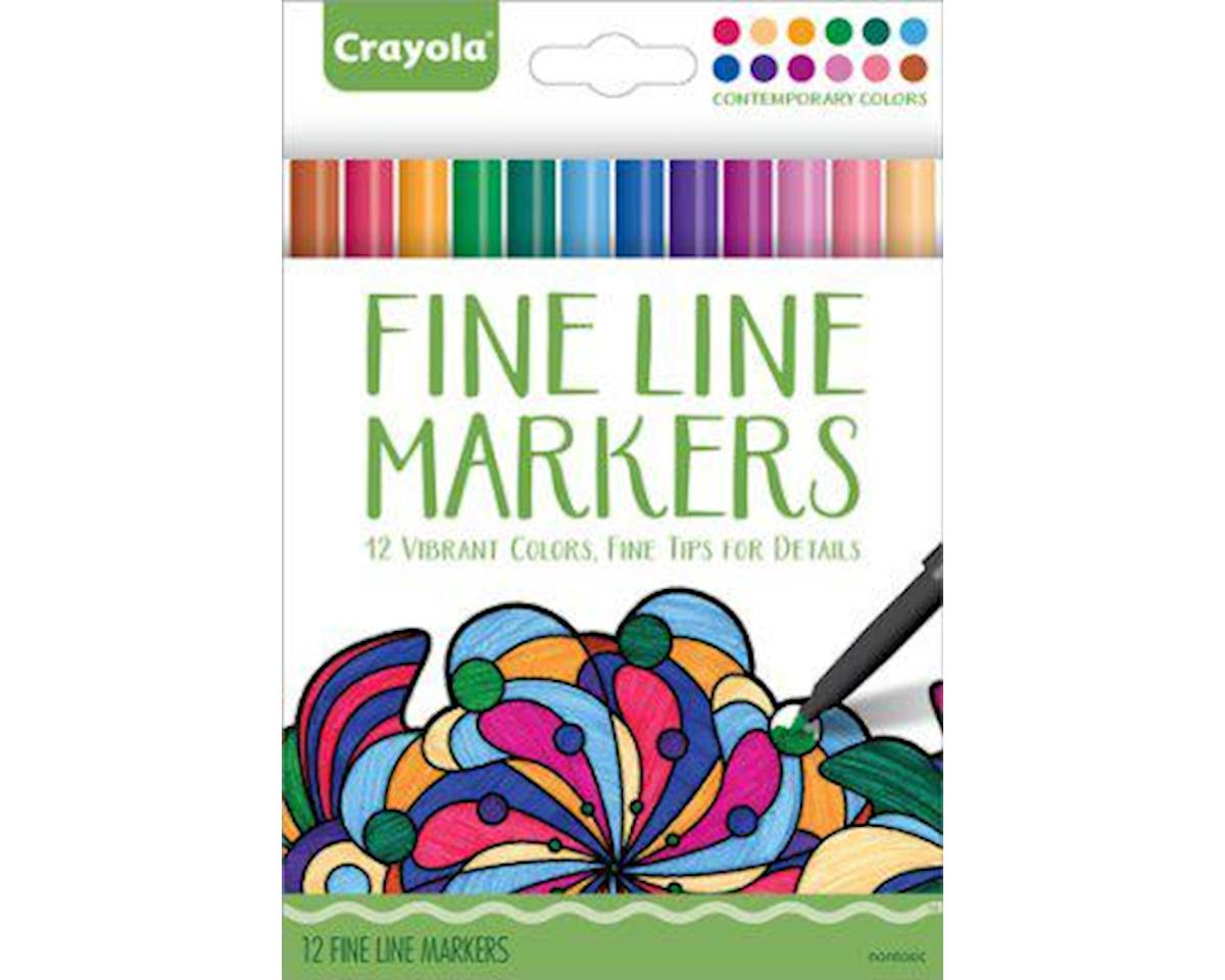 Crayola Llc Crayola Aged Up Adult Coloring 12ct Fine Line Markers, Contemporary Colors