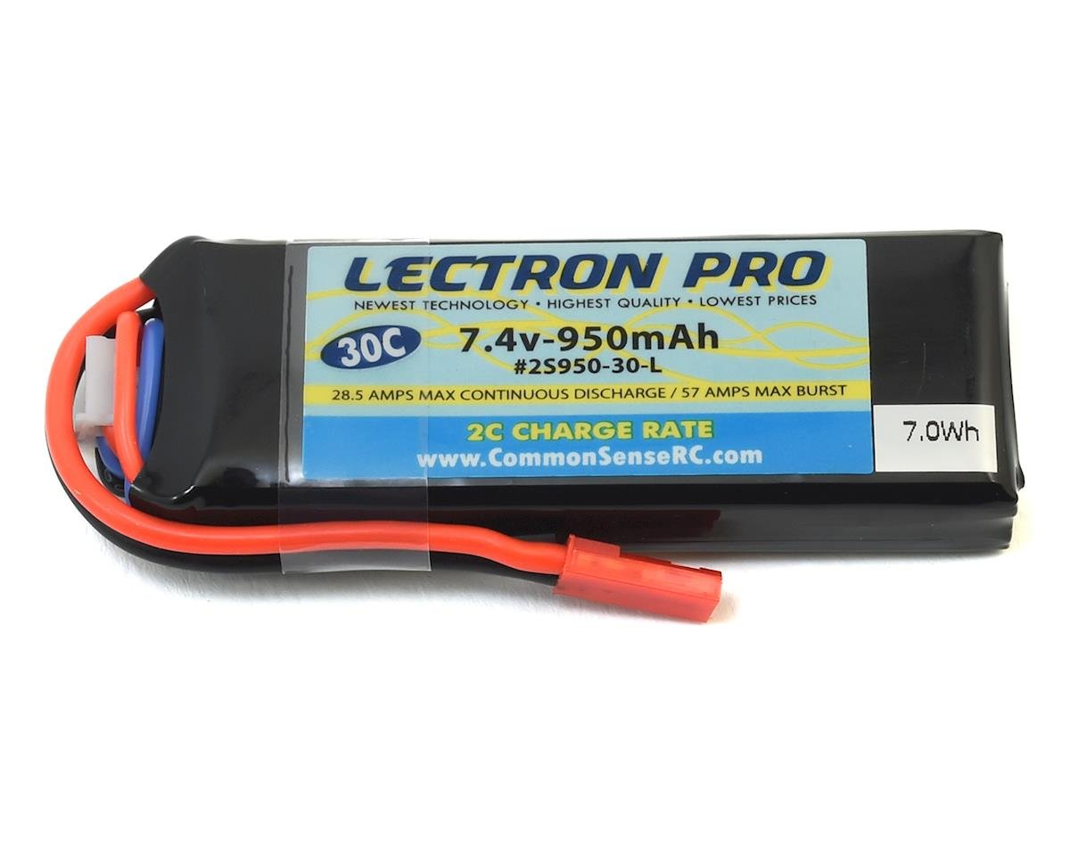 Common Sense RC Lectron Pro 2S LiPo 30C Battery w/JST (7.4V/950mAh) (Blade Torrent 110)