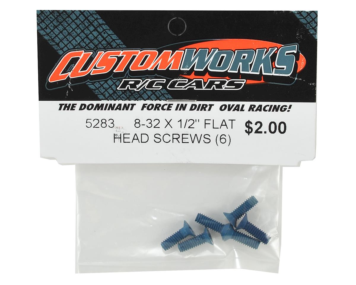 "Custom Works 8-32 X 1/2"" Flat Head Aluminum Screws (6)"