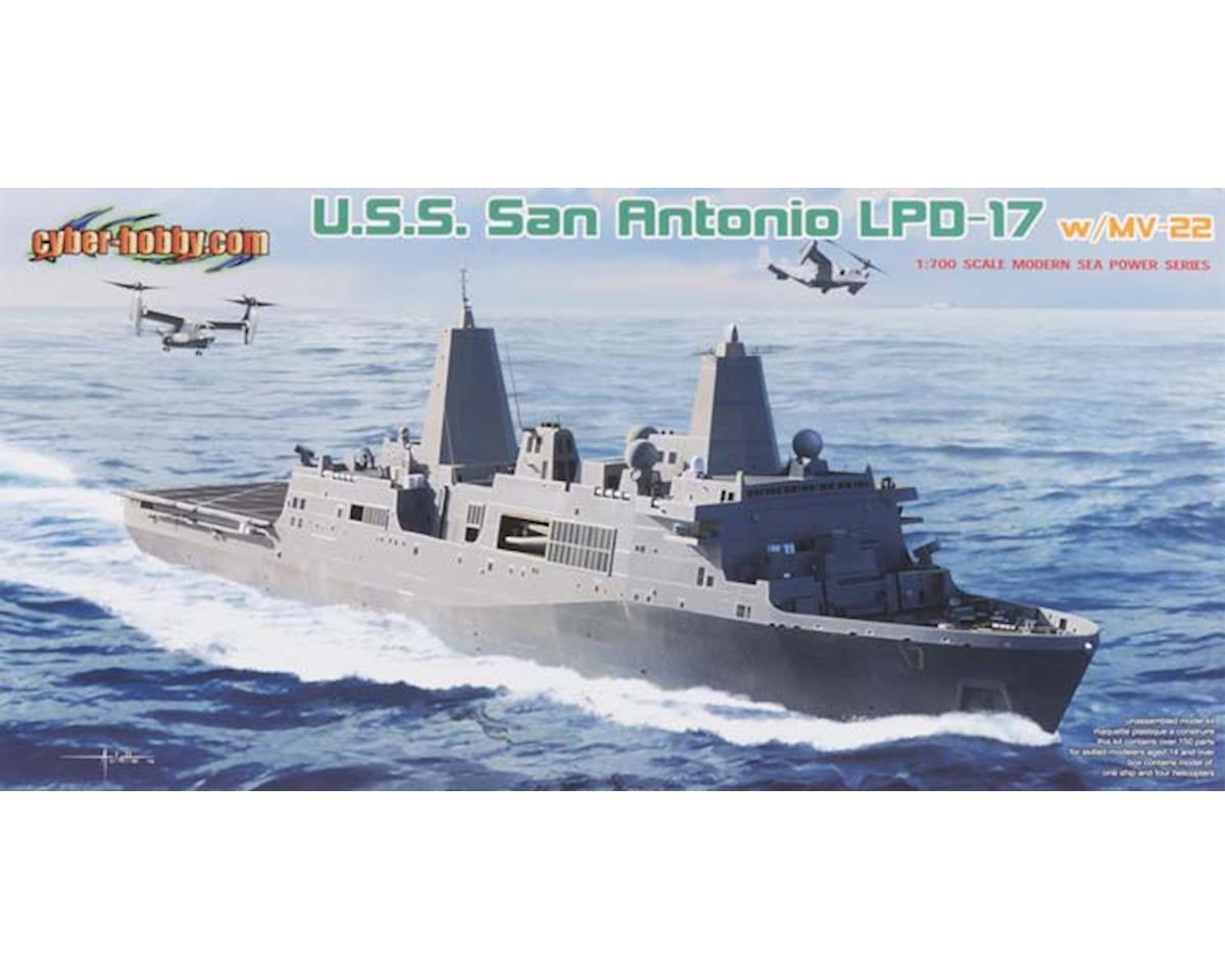Cyber Hobby Plastic Models 7096 1/700 USS San Antonio LPD-17 w/MV-22B