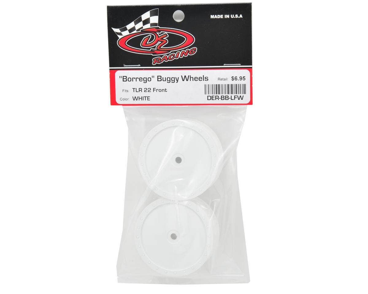 "DE Racing 10mm Hex ""Borrego"" 2.2 1/10 Buggy Front Wheel (2) (TLR 22) (White)"