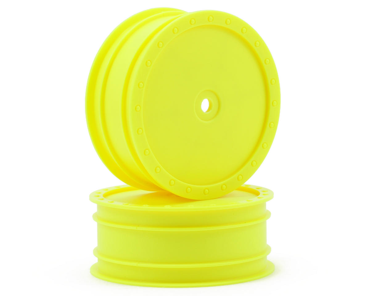 "DE Racing 10mm Hex ""Borrego"" 2.2 1/10 Buggy Front Wheel (2) (TLR 22) (Yellow)"
