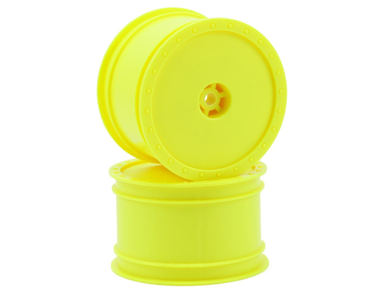 "DE Racing 12mm Hex ""Borrego"" 2.2 1/10 Buggy Rear Wheels (2) (B6/RB6) (Yellow) (Losi XXX-4)"