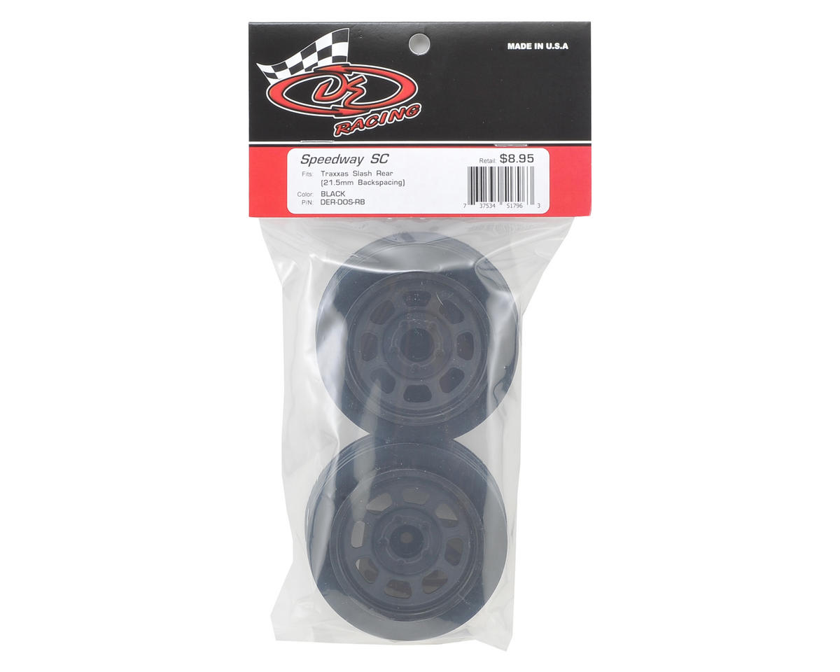 DE Racing Speedway Short Course Wheels (Black) (2) (21.5mm Backspace)