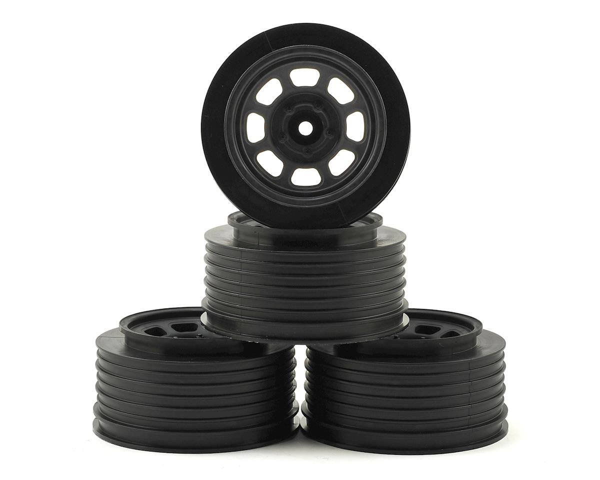 DE Racing Speedway Short Course Wheels (Black) (4) (21.5mm Backspace) (Traxxas Rally)