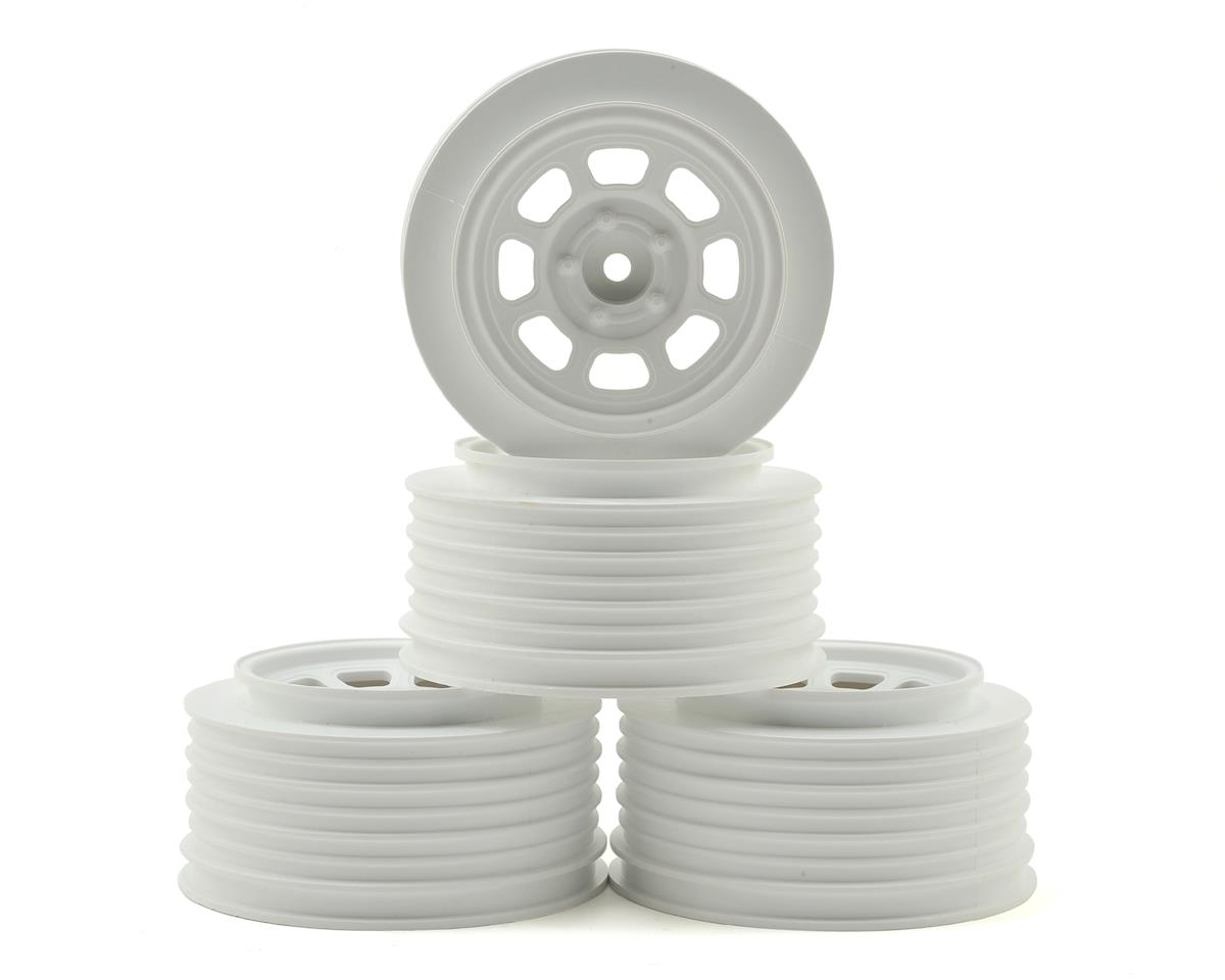 DE Racing Speedway Short Course Wheels (White) (4) (21.5mm Backspace) (HPI Blitz)