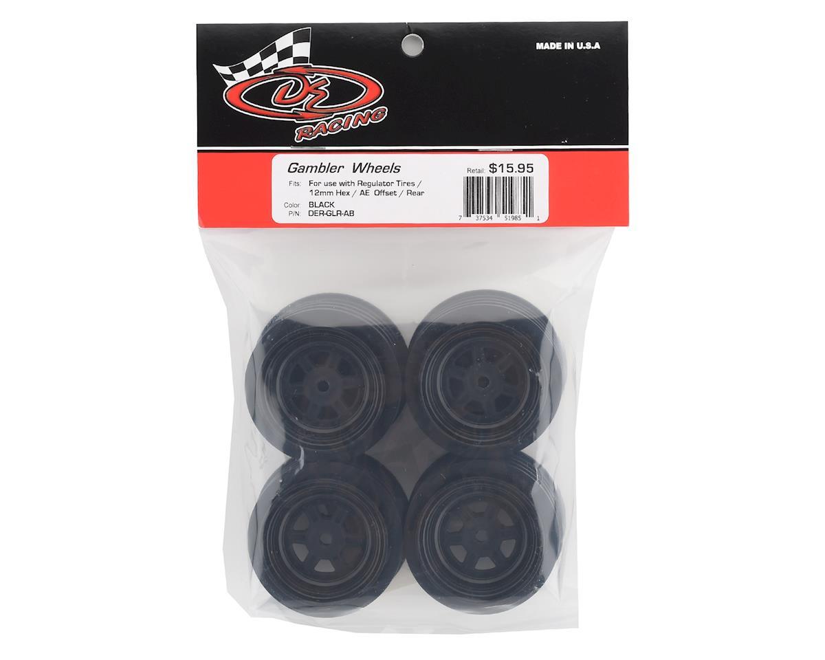 DE Racing Gambler Rear Late Model Wheels (AE/TLR) (Black)