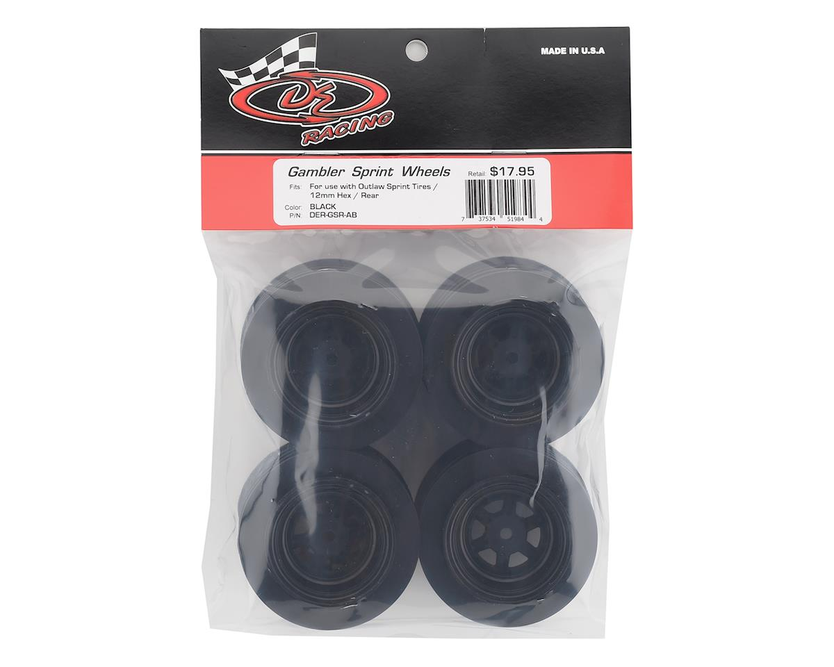 DE Racing Gambler Rear Sprint Wheels (AE/TLR) (Black) w/12mm Hex