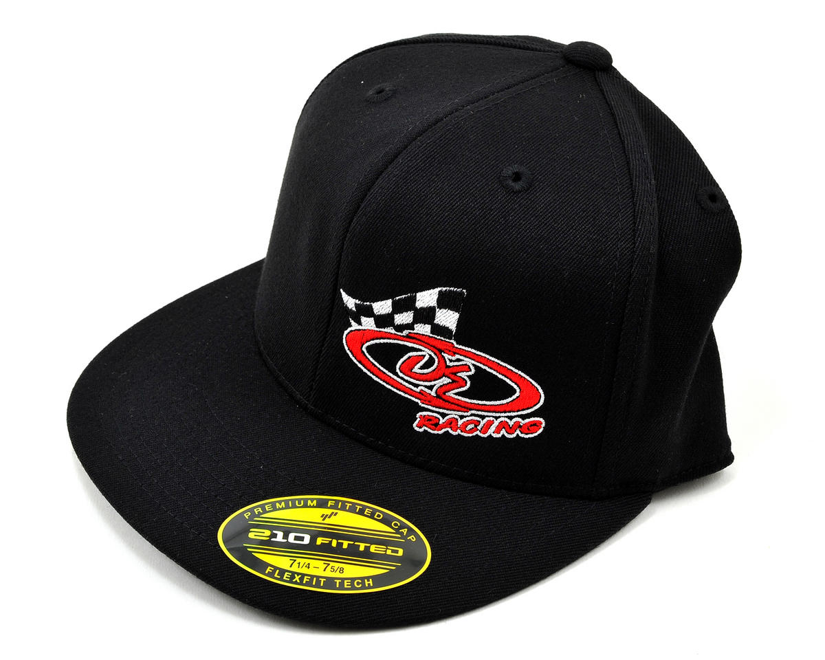 "Logo ""Flatbill"" FlexFit Cap (Black) (L/XL) by DE Racing"