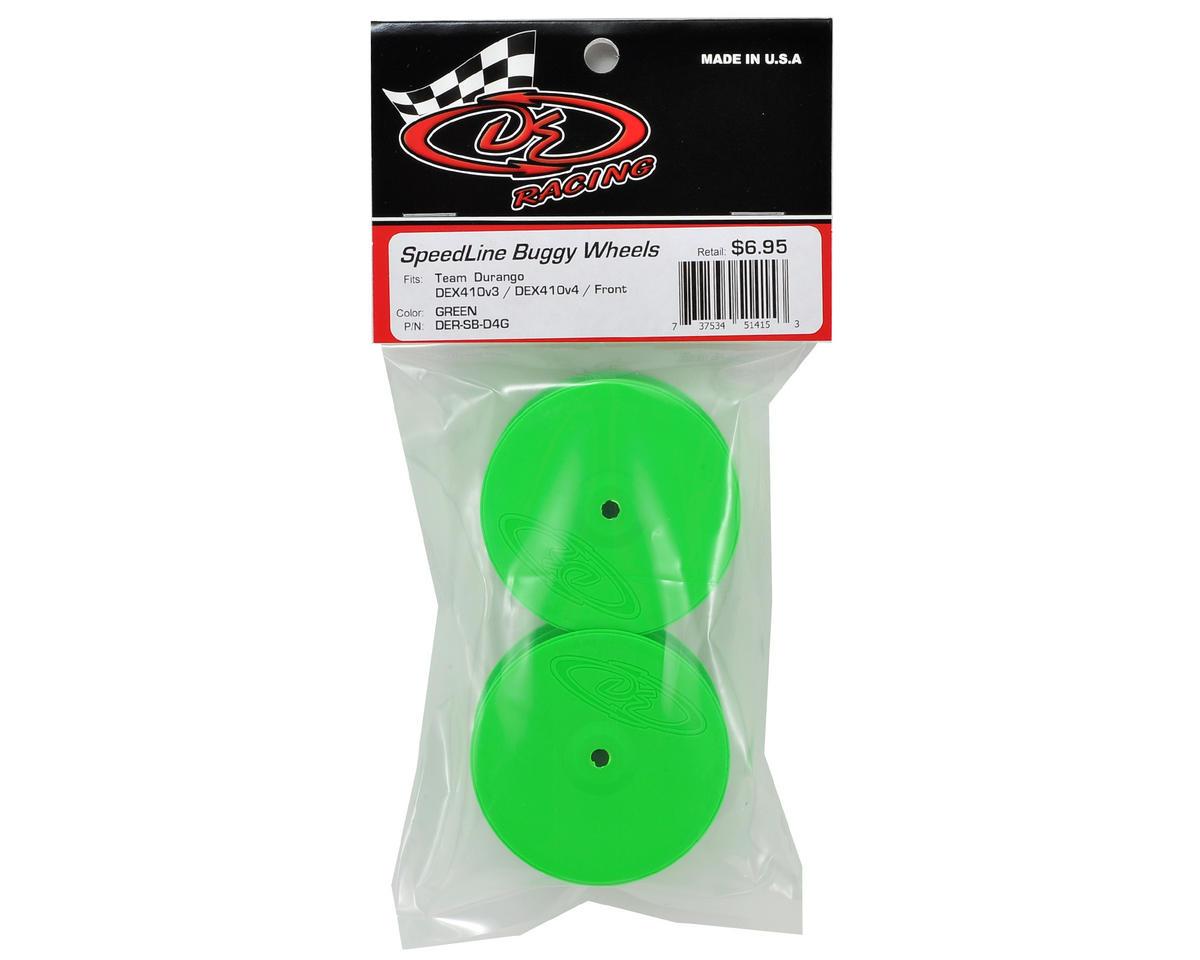 """DE Racing 14mm Hex """"Speedline"""" 2.2 4WD Front Buggy Wheels (2) (DEX410) (Green)"""