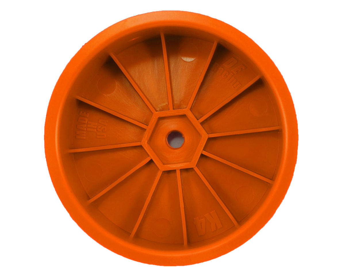 "DE Racing 12mm Hex ""Speedline"" 2.2 4WD Front Buggy Wheels(2) (ZX6) (Orange)"