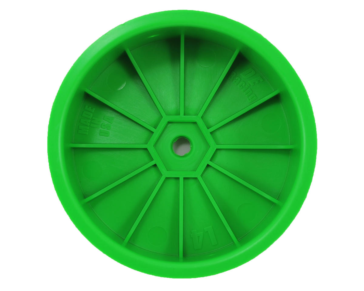 "DE Racing 12mm Hex ""Speedline"" 2.2 4WD Front Buggy Wheels (2) (22-4) (Green)"