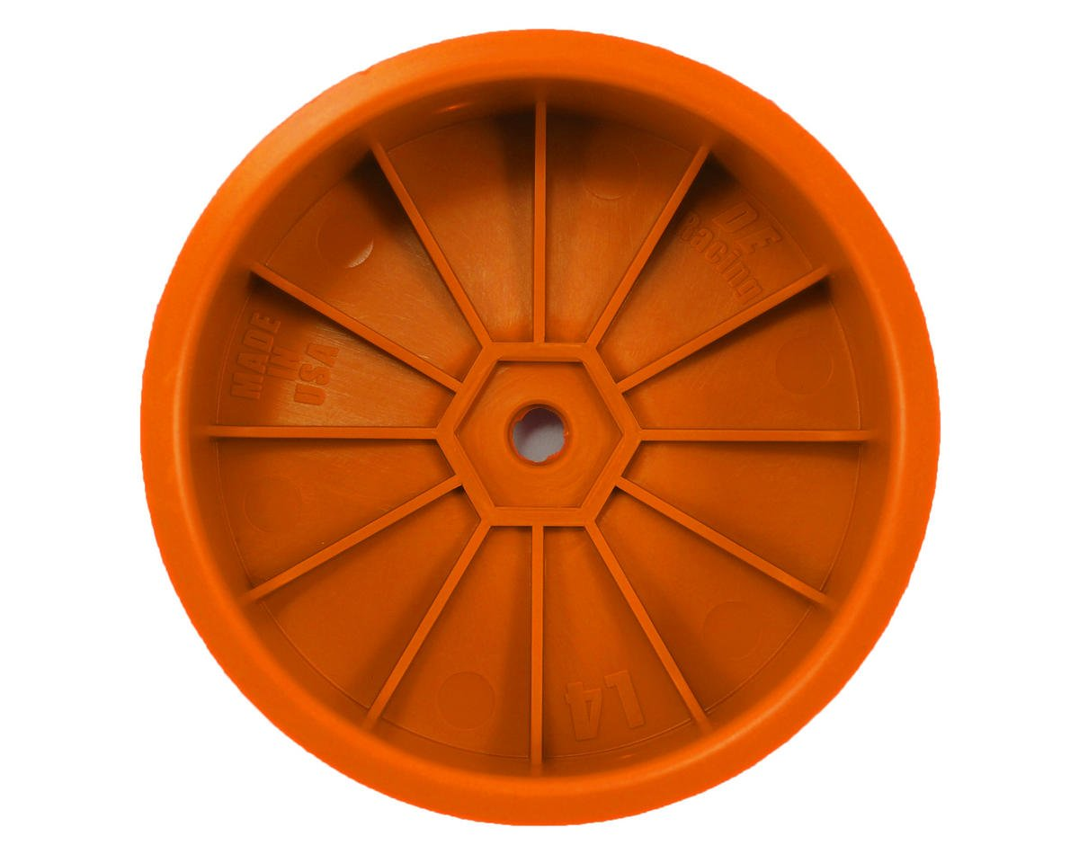 "DE Racing 12mm Hex ""Speedline"" 2.2 4WD Front Buggy Wheels (2) (22-4) (Orange)"