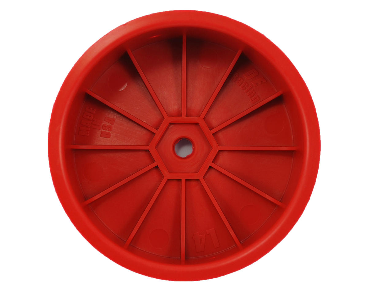 "DE Racing 12mm Hex ""Speedline"" 2.2 4WD Front Buggy Wheels (2) (22-4) (Red)"