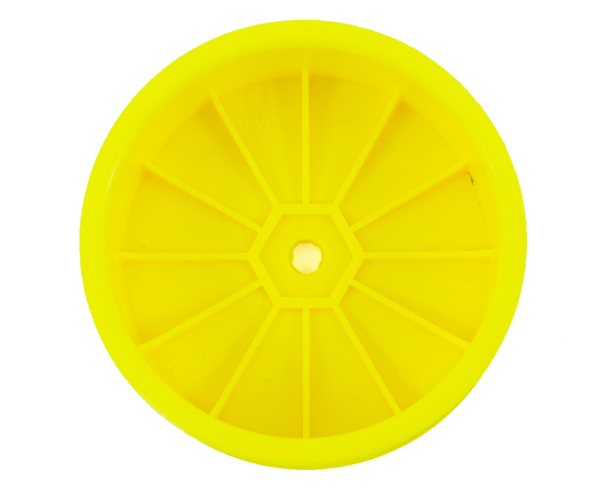"DE Racing 12mm Hex ""Speedline"" 2.2 4WD Front Buggy Wheels (2) (22-4) (Yellow)"