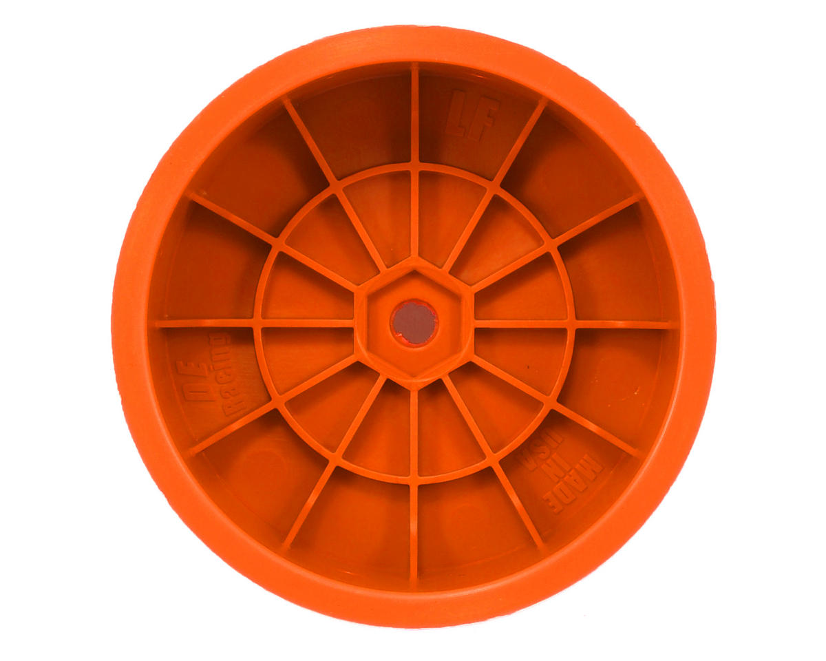 "DE Racing 10mm Hex ""Speedline"" 2.2 1/10 Buggy Front Wheel (2) (TLR 22) (Orange)"