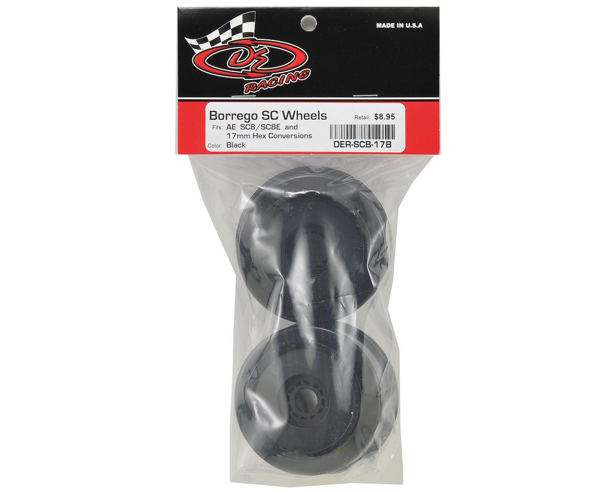 "DE Racing 17mm Hex ""Borrego"" Short Course Wheels (Black) (2) (SC8/Senton)"