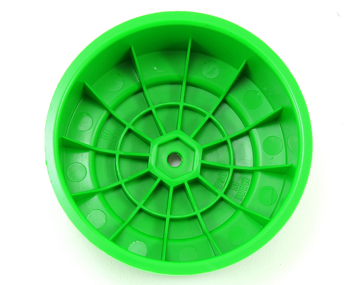"DE Racing 12mm Hex ""Borrego"" Short Course Wheels w/3mm Offset (Green) (2) (SC5M)"