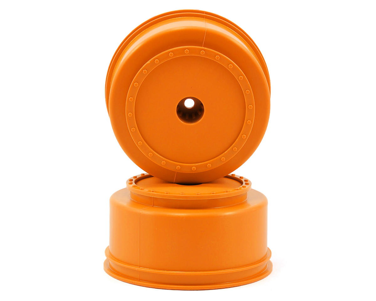 "12mm Hex ""Borrego"" Short Course Wheels (Orange) (2) (SC6/Slash/Blitz) by DE Racing"