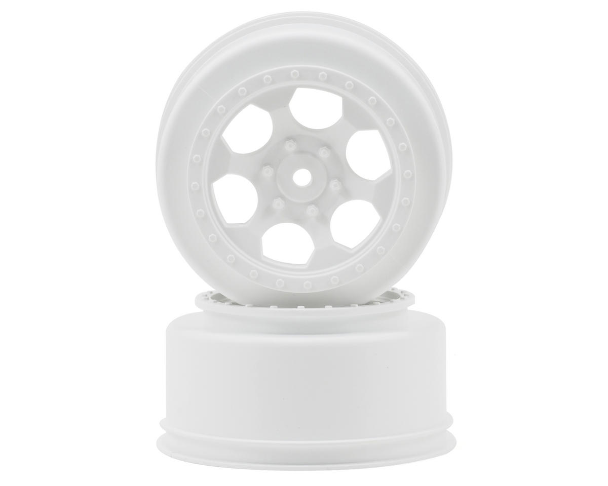 "12mm Hex ""Trinidad"" Short Course Wheels (White) (2) (22SCT/TEN-SCTE) by DE Racing"
