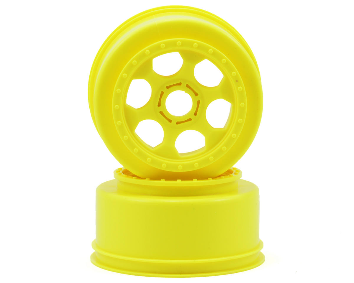 "DE Racing 17mm Hex ""Trinidad"" Short Course Wheels (Yellow) (2) (SC8/Senton) (Team Associated SC8.2e)"