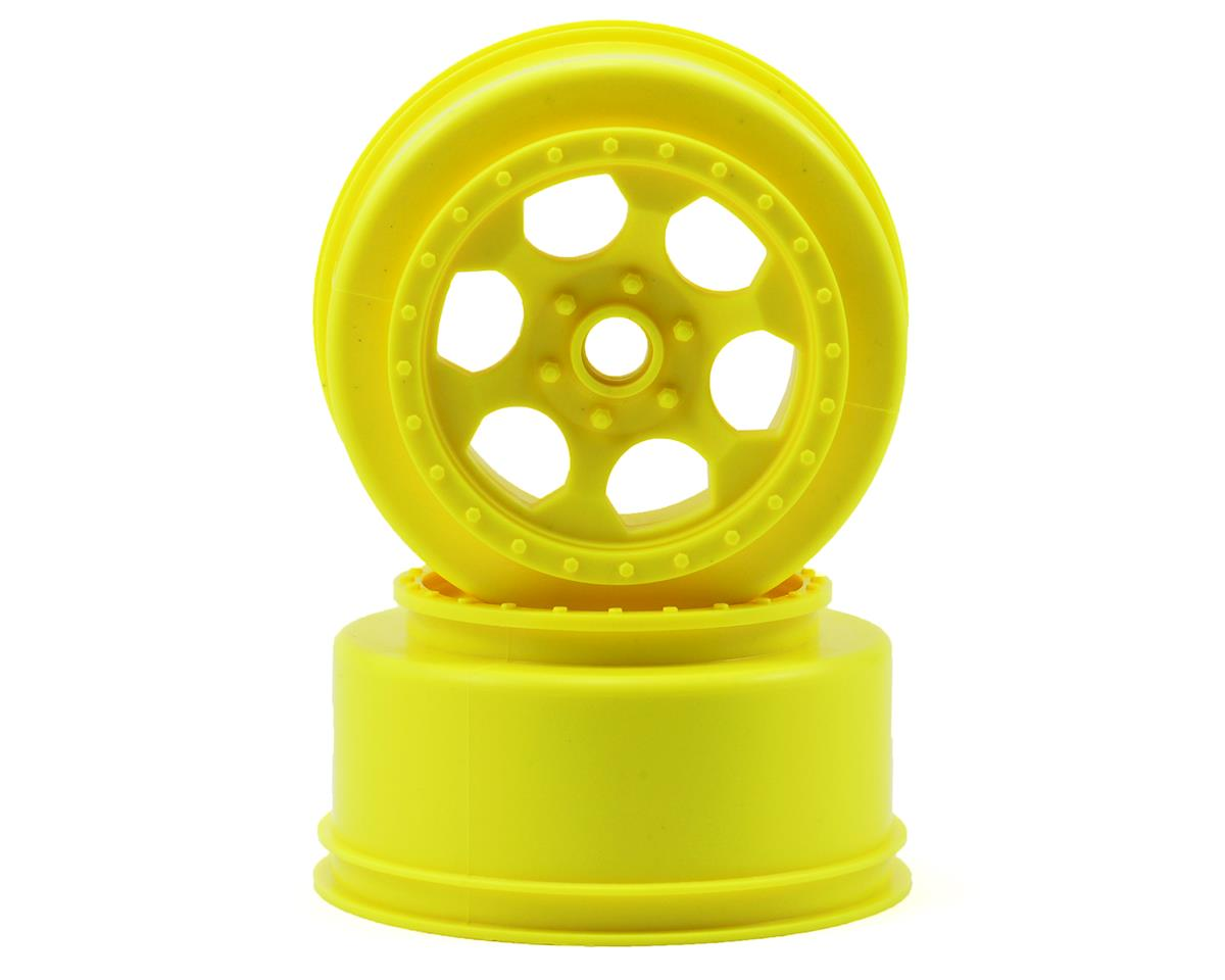 "DE Racing ""Trinidad"" Short Course Wheels (Yellow) (2) (SC10 Front) (Not Hex)"