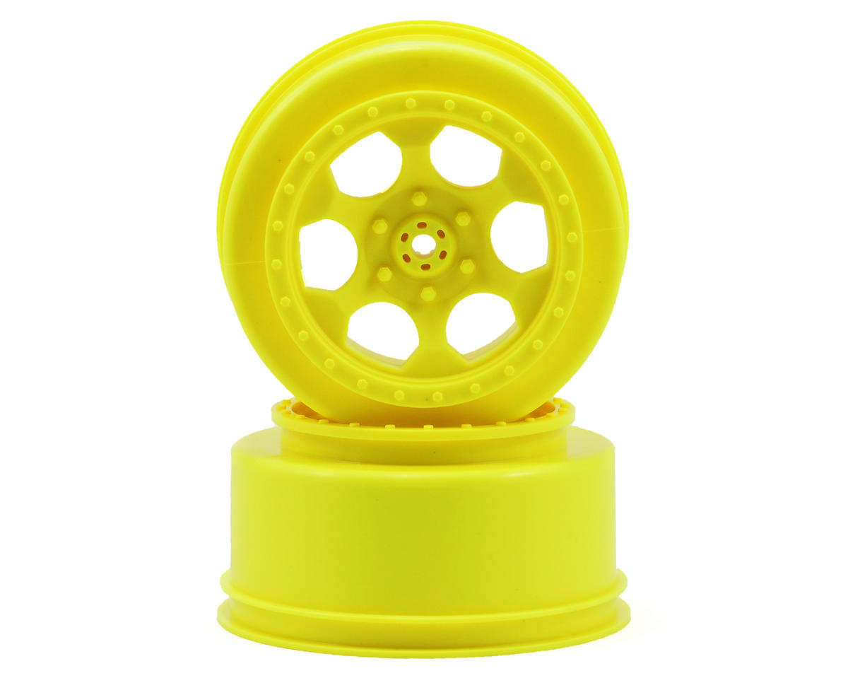 "DE Racing ""Trinidad"" Short Course Wheels (Yellow) (2) (SC10 Rear) (Not Hex)"