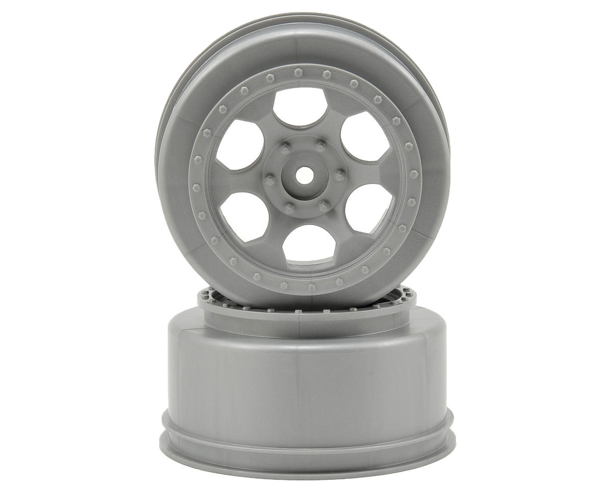 DE Racing Trinidad Short Course Wheels w/3mm Offset (Silver) (2) (SC5M) (Team Associated SC10 4x4)