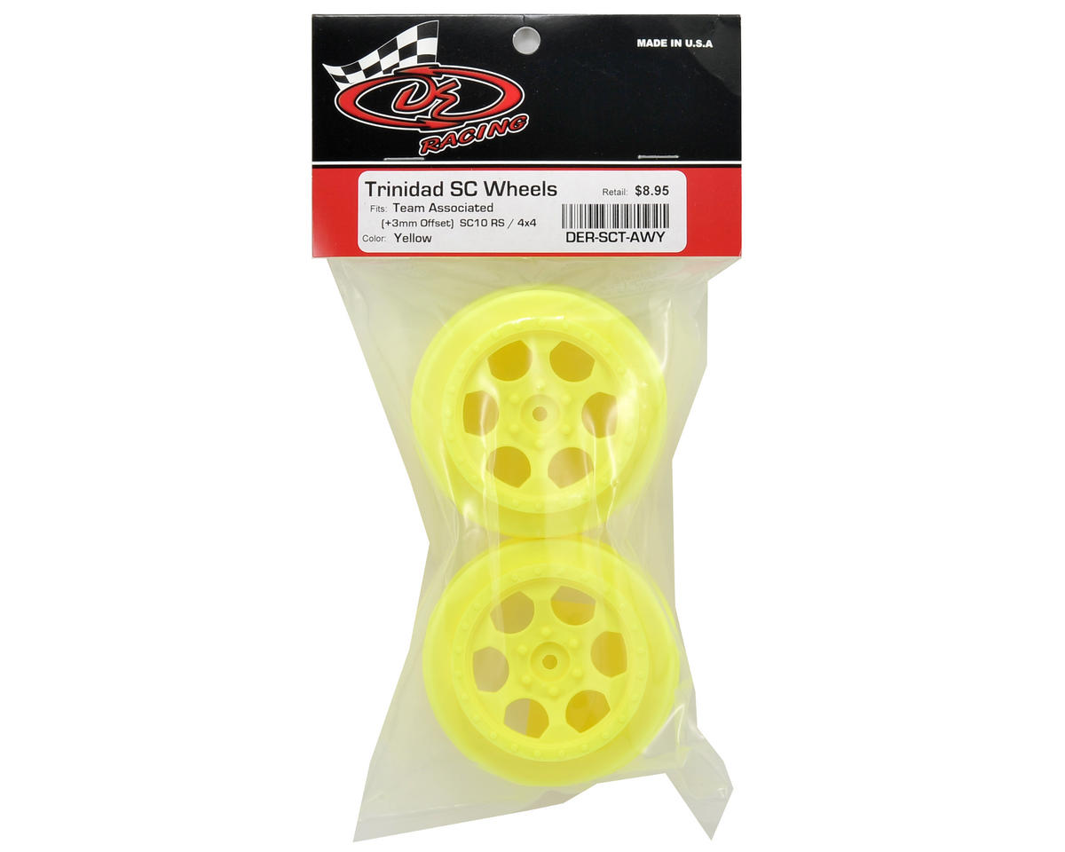 Trinidad Short Course Wheels w/3mm Offset (Yellow) (2) (SC5M) by DE Racing