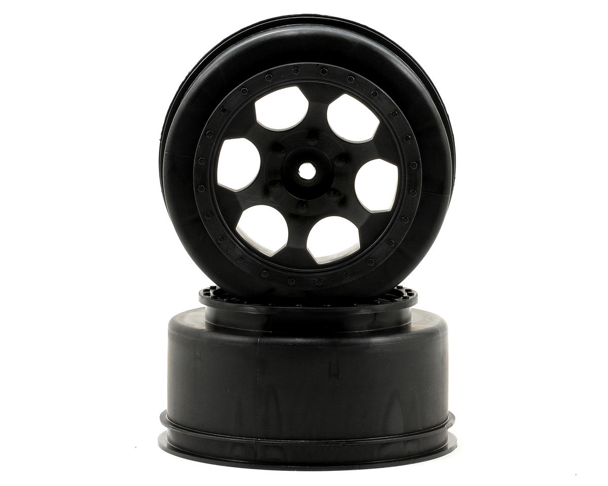 "12mm Hex ""Trinidad"" Short Course Wheels (Black) (2) (Slash Front) by DE Racing"