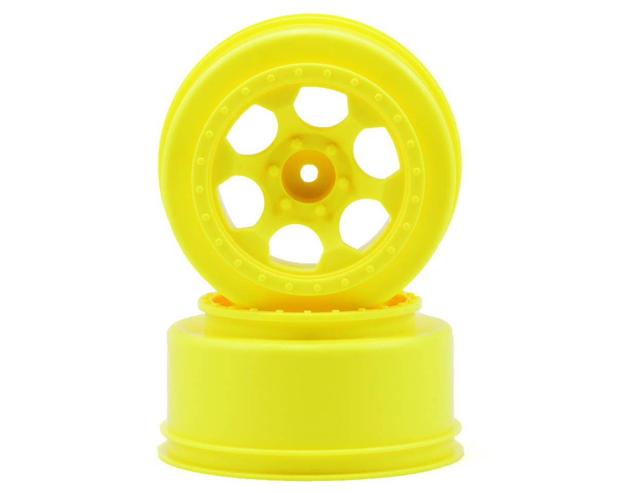 """DE Racing 12mm Hex """"Trinidad"""" Short Course Wheels (Yellow) (2) (Slash Front)"""