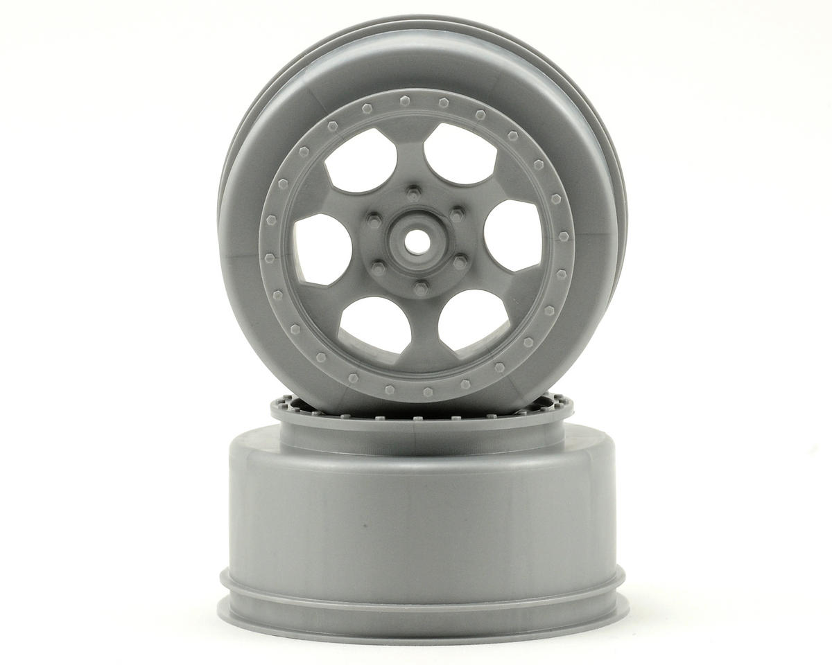 DE Racing Trinidad Short Course Wheels (Silver) (2) (XXX-SCT/SCB Rear) (Losi XXX-SCB)