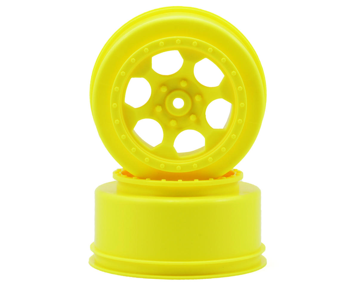 "DE Racing 12mm Hex ""Trinidad"" Short Course Wheels (Yellow) (2) (XXX-SCT/SCB Rear)"