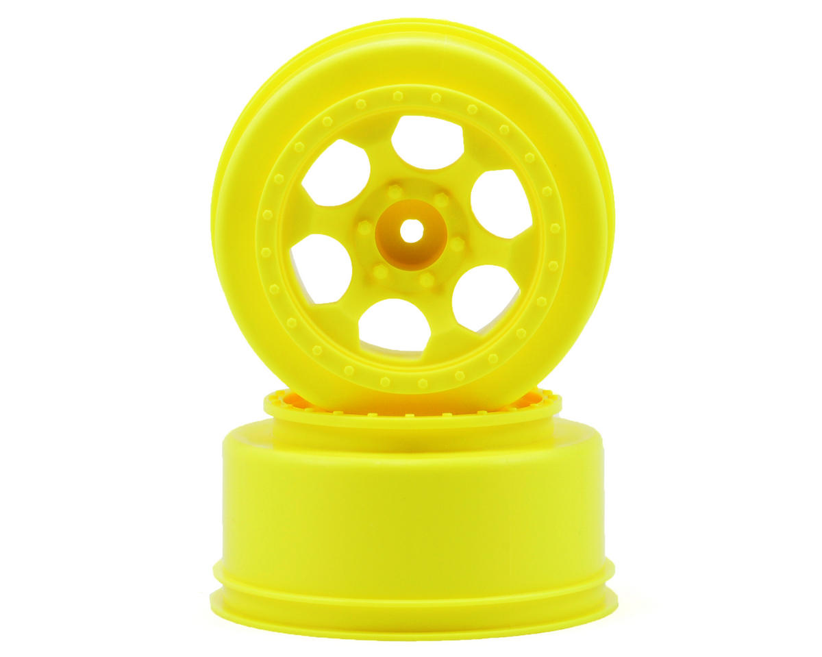 "12mm Hex ""Trinidad"" Short Course Wheels (Yellow) (2) (SC6/Slash/Blitz) by DE Racing"