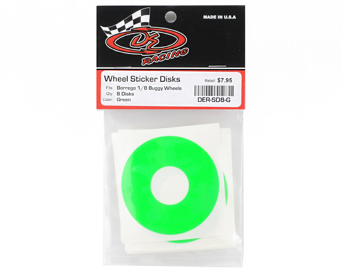 DE Racing 1/8 Buggy Wheel Sticker Disk (Fluorescent Green) (8)