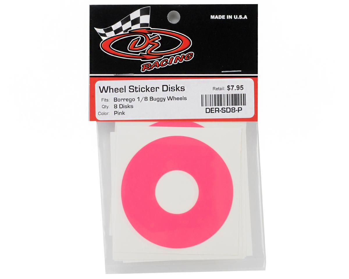 DE Racing 1/8 Buggy Wheel Sticker Disk (Hot Pink) (8)
