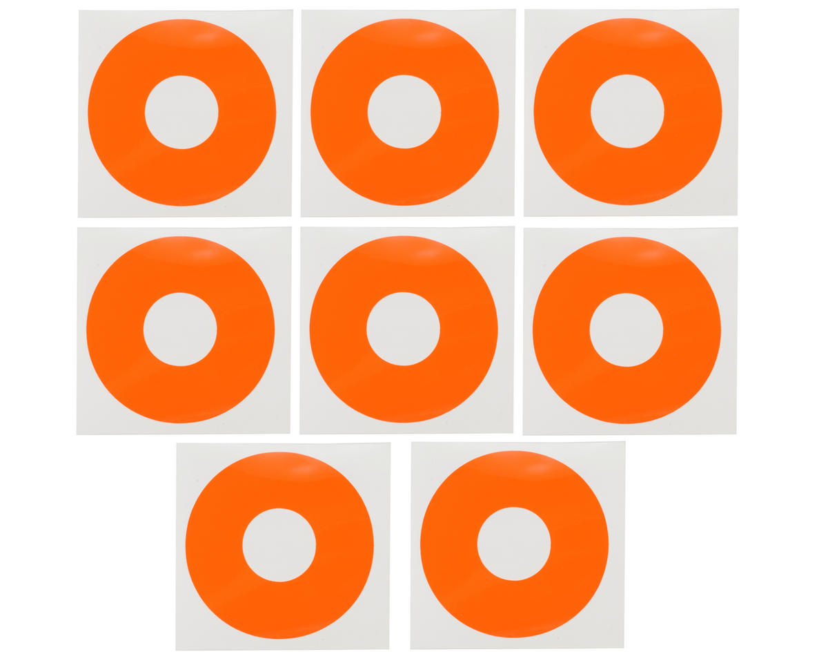 DE Racing 1/8 Buggy Wheel Sticker Disk (Fluorescent Red-Orange) (8)
