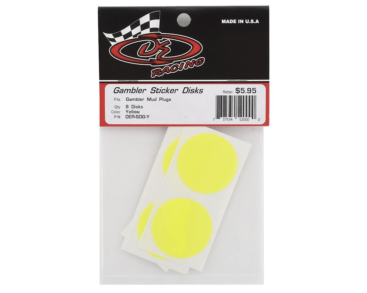 Image 2 for DE Racing Gambler Dirt Oval Mud Plug Wheel Sticker Disks (Yellow)