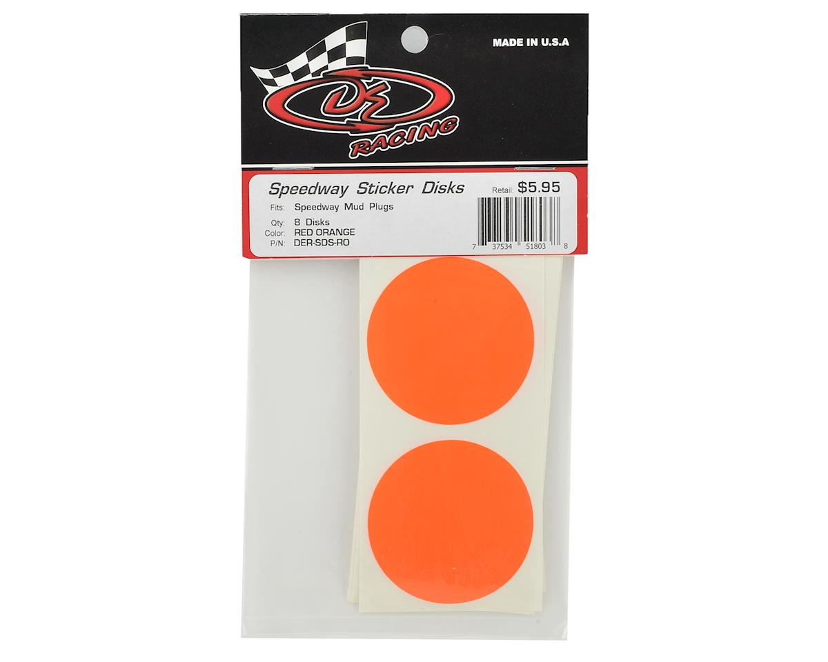 DE Racing Speedway Mud Plug Sticker Disks (Red/Orange) (8)