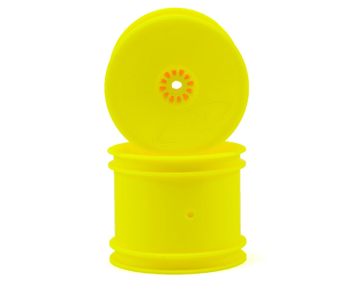 """DE Racing 12mm Hex """"Speedline"""" 2.2"""" 1/10 Stadium Truck Wheel (2) (22T) (Yellow)"""