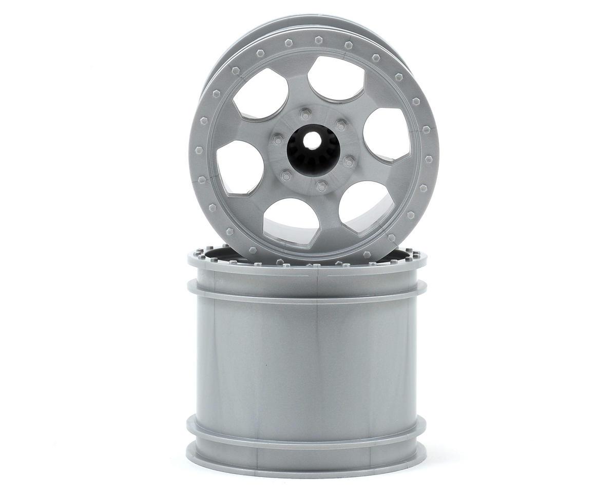 """DE Racing """"Trinidad"""" 2.2"""" 1/10 Stadium Truck Hex Wheel (2) (T4) (Silver)"""