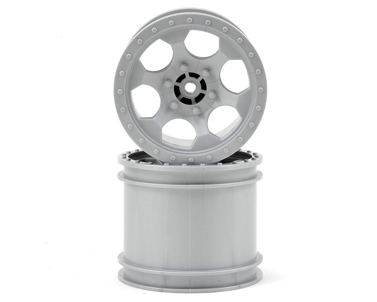 DE Racing Trinidad 2.2 1/10 Stadium Truck Wheel (2) (TLR 22T) (Silver)