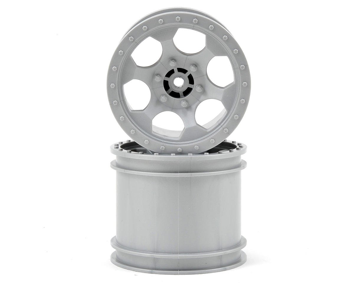 DE Racing Trinidad 2.2 1/10 Stadium Truck Wheel (2) (TLR 22T) (Silver)