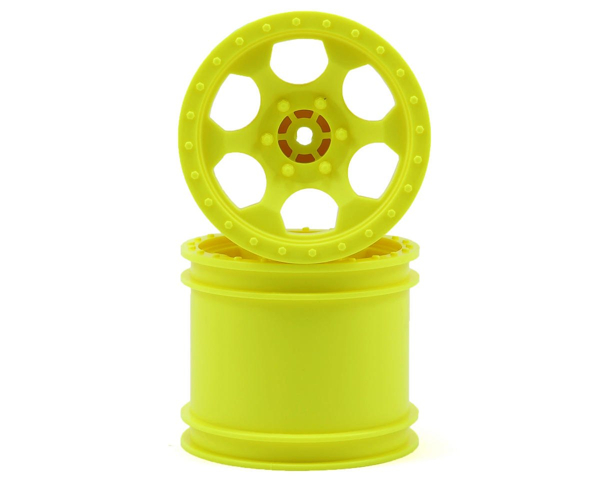 DE Racing Trinidad 2.2 1/10 Stadium Truck Wheel (2) (TLR 22T) (Yellow)