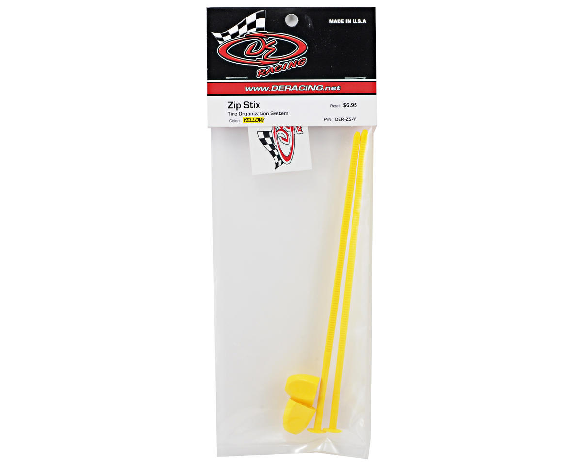 DE Racing Zip Stix Tire Organizers (Yellow) (2)