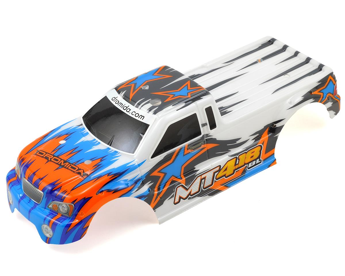 Dromida Pre-Painted MT4.18BL Monster Truck Body w/Decals (White/Blue)