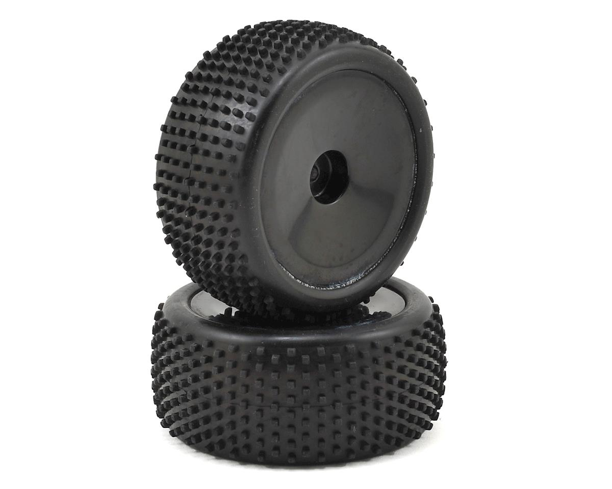 Pre-Mounted 1/18 Square Tread Tire (2) (Black) by Dromida