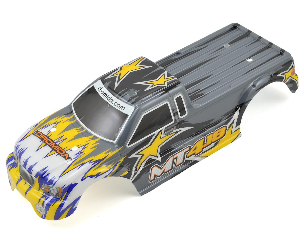 Pre-Painted MT4.18 Monster Truck Body w/Decals (Gray/Yellow) by Dromida